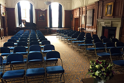 Civil Ceremony in the Court Room at Christ's Hospital School, near Horsham, West Sussex